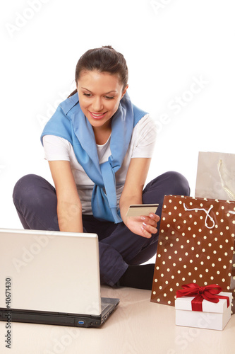 A woman shopping on-line