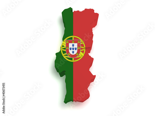 Portugal Map 3d Shape