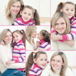 Pretty mother and her cute daughter, collage