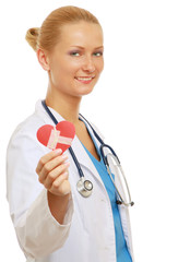 A female doctor with repaired heart, isolated on white