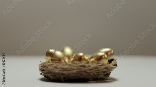 golden eggs in nest, woman securing savings and money