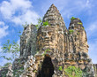 Entrance in Angkor Area on Blue Sky Background, Cambodia