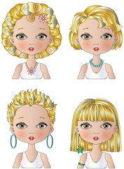 quattro testine capelli biondi
