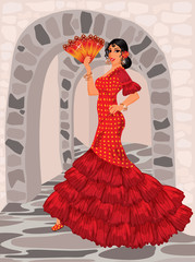 Spanish woman in style of a flamenco
