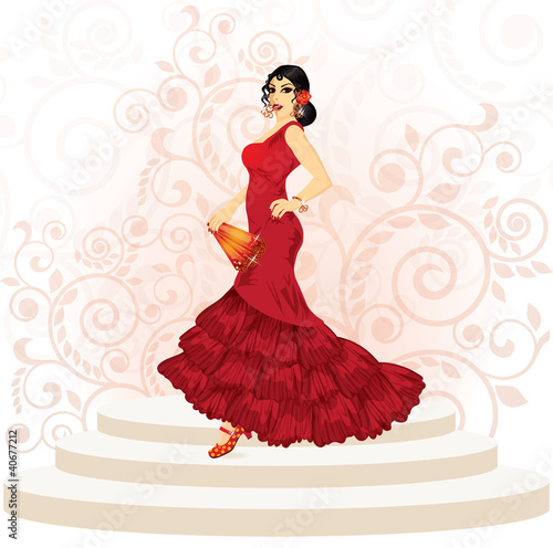 Spanish flamenco woman with a fan, vector