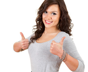 successful young woman with thumbs up