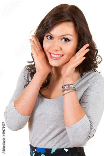 beautiful teenage girl smiling, looking at camera