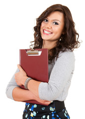 casual young student woman with clipboard looking at camera