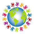 World peace and unity hands vector.