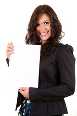 smiling young businesswoman with blank paper