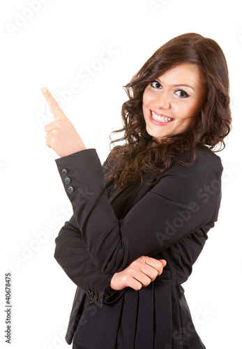 smiling businesswoman showing someting