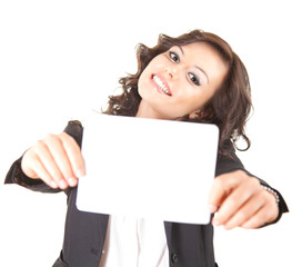 smiling young businesswoman with blank card