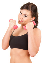 exercising young woman working out with small dumbbells