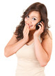 surprised teenage girl on the phone, white background