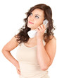 young woman on the phone, looking up, white background