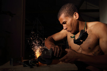 Man working with a angle grinder