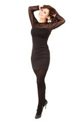 smiling young elegant woman in black dress, full length