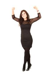 smiling elegant girl in black dress, full length