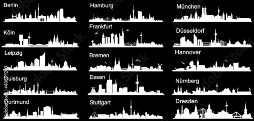 Deutsche Städte in weiß