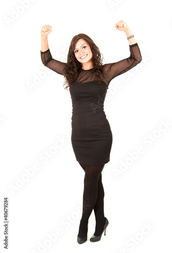 smiling elegant girl in black dress, full length