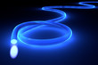 Leinwandbild Motiv Glasfaserkabel mit blauem Licht