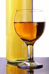 White wine composition with bottle and glass