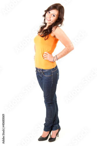 cheerful young girl, full length, white background