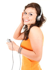 cheerful teenage girl in headphones, white background