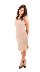 standing teenage girl in dress, full length