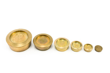 Brass weights of different size