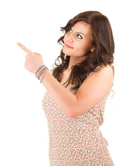 casual woman looking and pointing up