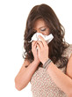 young woman with snotty, runny nose and tissue