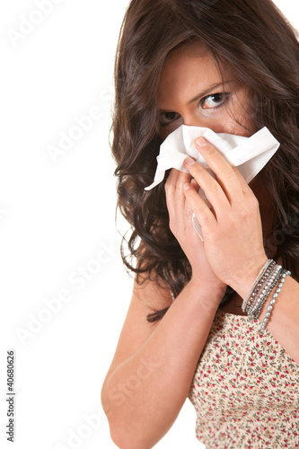 girl with snotty, runny nose and handkerchief