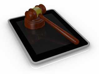 gavel and tablet pc