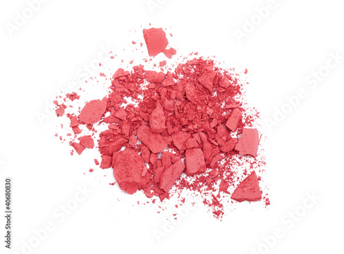 Pink crashed blush isolated on white