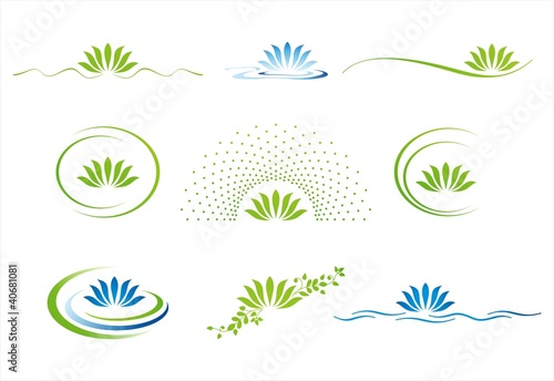 water lily , Buddha , Eco friendly business logo design - 40681081