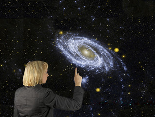 Pointing to our galaxy.Elements of this image furnished by NASA