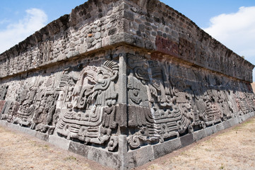 Temple of the Feathered Serpent in Xochicalco (Mexico)