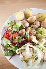 steamed salmon with fresh  potatoes - Ducan diet