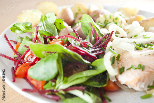 fresh salad with steamed salmon and potatoes- Ducan diet