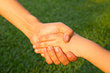 helping hand with parent's love