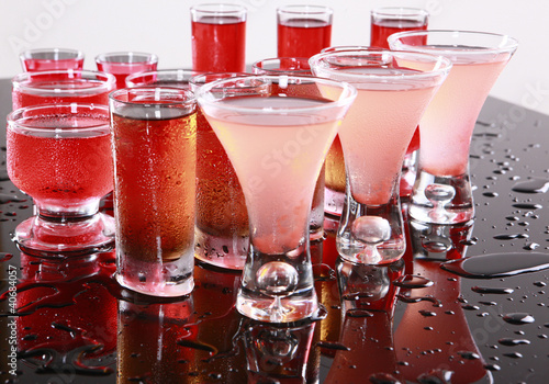 Red drinks on wet bar