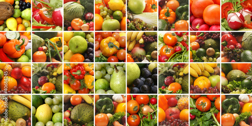 A collage of images with fresh fruits and vegetables