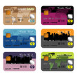 Set of six different credit cards