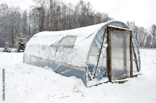 wooden diy homemade greenhouse polythene snow