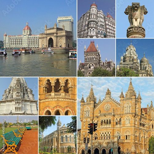 collage with symbols of indian city Mumbai ( Bombay )