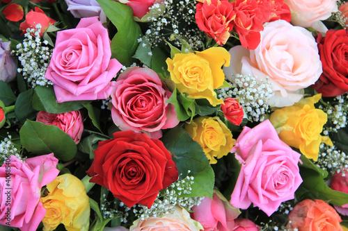 Deurstickers Lilac Multicolor rose arrangement