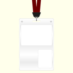 ID plastic badge with space for photo and text