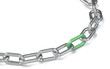 Green Solution.Chain with red link. Hard Floor Shadow.