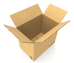 Open Cardboard Box. Cardboard texture. Floor shadow.